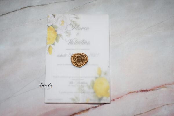 partecipazioni matrimonio sheer yellow flower